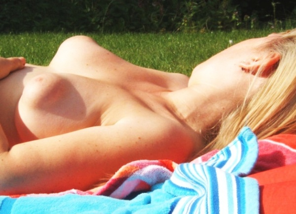 Puffy Nipples Sunbathing topless
